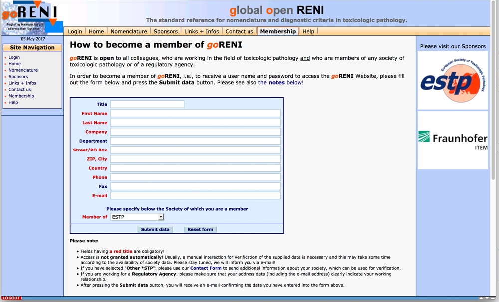 Screen shot of the goRENI enrollment page